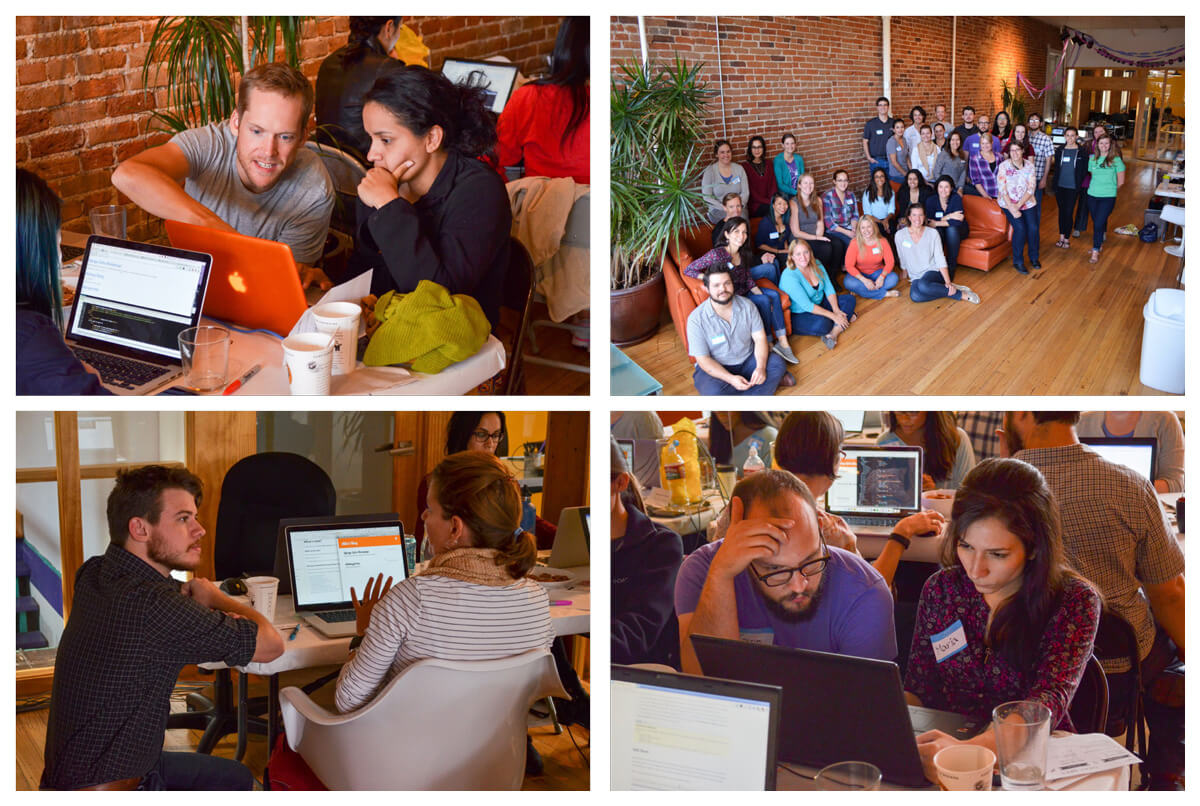 Photo collage: The Fusionbox team at a development workshop.